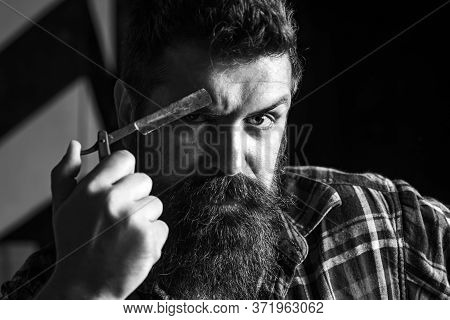 Hair Salon And Barber Vintage. Barber Shop. Moustache Wax. Bearded Man With Long Mustache.
