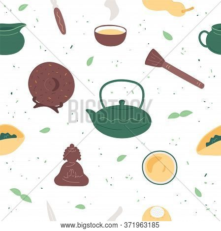 Chinese Tea Ceremony Seamless Pattern. Flat Trendy Hand Drawn Style. Various Teaware For Gong Fu Cha