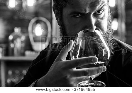 Man Drinks Brandy Or Whiskey. Bearded Man Wearing Suit And Drinking Whiskey Brandy Or Cognac. Sommel