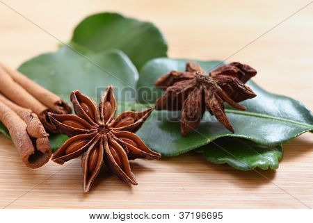 Star anise (Illicium verum - both sides of the pod shown), cinnamon and kaffir lime
