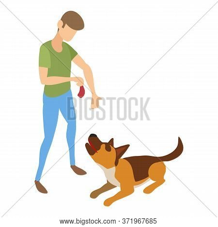 Cynologist Give Meat To Dog Icon. Isometric Of Cynologist Give Meat To Dog Vector Icon For Web Desig