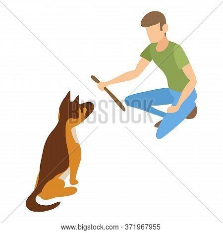 Dog Wait Wood Stick Icon. Isometric Of Dog Wait Wood Stick Vector Icon For Web Design Isolated On Wh