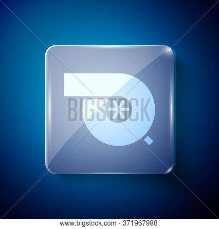 White Automotive Turbocharger Icon Isolated On Blue Background. Vehicle Performance Turbo. Turbo Com