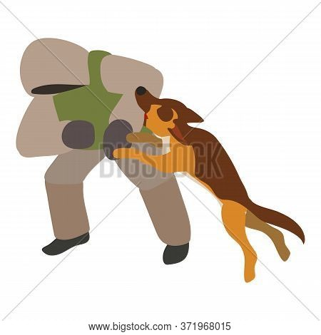 Dog Attack Enemy Training Icon. Isometric Of Dog Attack Enemy Training Vector Icon For Web Design Is
