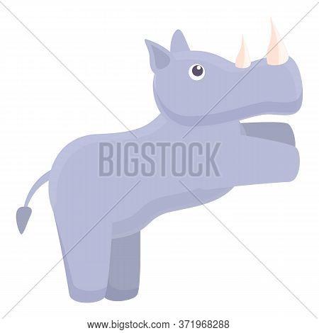 Lazy Rhino Icon. Cartoon Of Lazy Rhino Vector Icon For Web Design Isolated On White Background
