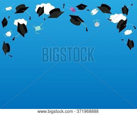 Funny Graduation Background With Bonnets And Medical Masks In The Air. Flying Masks And Grads Hats,