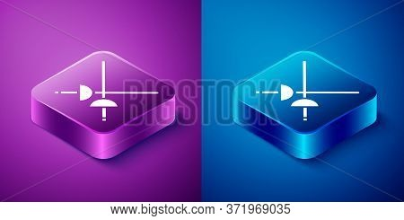 Isometric Fencing Icon Isolated On Blue And Purple Background. Sport Equipment. Square Button. Vecto