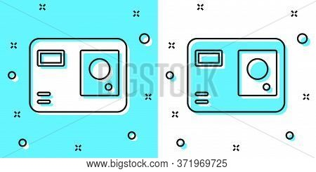 Black Line Action Extreme Camera Icon Isolated On Green And White Background. Video Camera Equipment