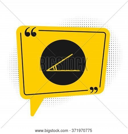 Black Acute Angle Of 45 Degrees Icon Isolated On White Background. Yellow Speech Bubble Symbol. Vect