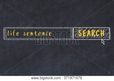Drawing Of Search Engine On Black Chalkboard. Concept Of Looking For Life Sentence