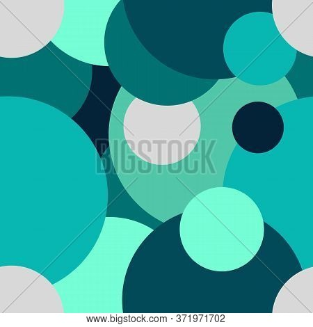Raster Seamless Pattern From Circles Of Different Sizes And Colors. The Circles Overlap Each Other.