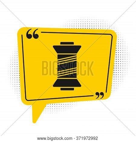Black Sewing Thread On Spool Icon Isolated On White Background. Yarn Spool. Thread Bobbin. Yellow Sp
