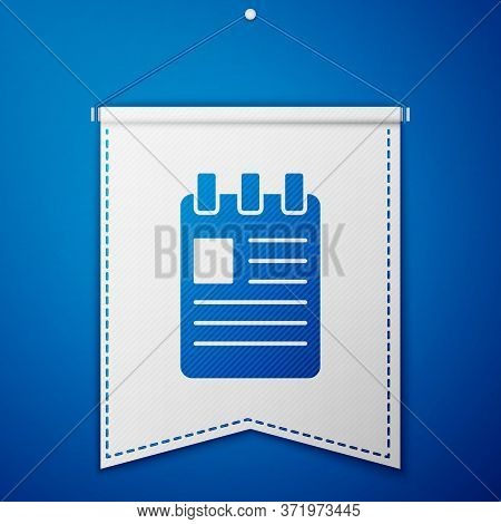 Blue Notebook Icon Isolated On Blue Background. Spiral Notepad Icon. School Notebook. Writing Pad. D