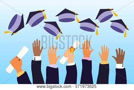 Hands Of A Class Of Graduates On Graduation Day Throwing Their Mortarboard Caps In The Air Celebrati