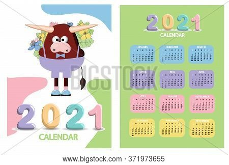 Bull, White Bull Calendar Or A4 Planner For 2021 With Cartoon Ox, Bull Or Cow, New Year Symbol, Cute