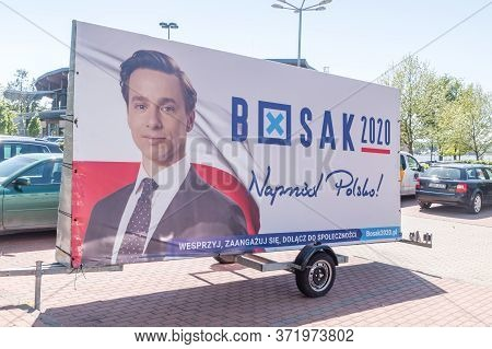 Ostroda, Poland - May 31, 2020: Election Billboard Of The Polish Presidential Candidate Krzysztof Bo