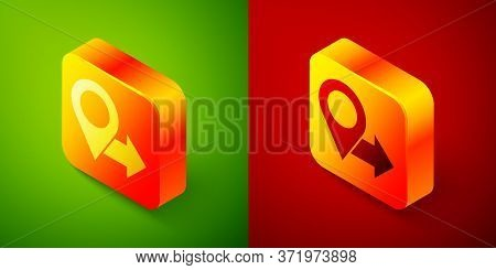 Isometric Map Pin Icon Isolated On Green And Red Background. Navigation, Pointer, Location, Map, Gps