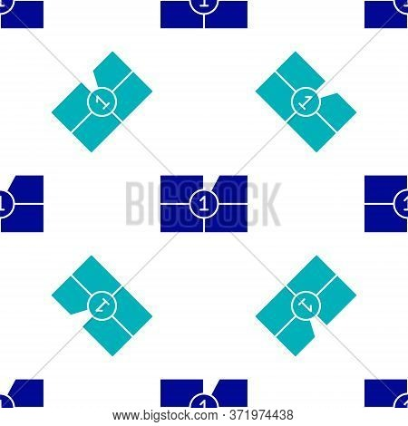 Blue Old Film Movie Countdown Frame Icon Isolated Seamless Pattern On White Background. Vintage Retr