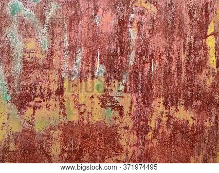 Rusty Metal Background With Streaks Of Rust. Corroded Metal Background. Rust Stains. Rystycorrosion.