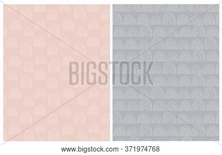 Hand Drawn Irregular Geometric Patterns. White Freehand Arcs Isolated On A Dusty Pink And Gray Backg