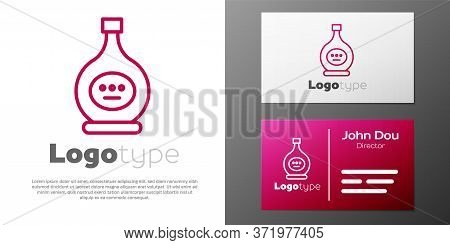 Logotype Line Bottle Of Cognac Or Brandy Icon Isolated On White Background. Logo Design Template Ele