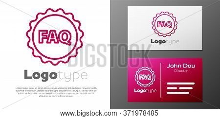 Logotype Line Label With Text Faq Information Icon Isolated On White Background. Circle Button With
