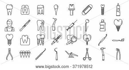 Tooth Restoration Clinic Icons Set. Outline Set Of Tooth Restoration Clinic Vector Icons For Web Des