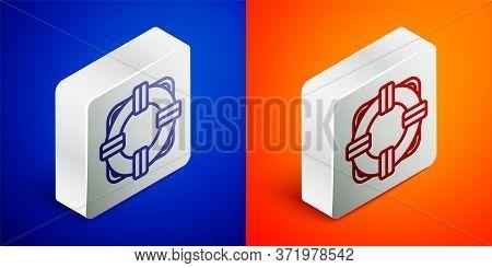 Isometric Line Lifebuoy Icon Isolated On Blue And Orange Background. Lifebelt Symbol. Silver Square