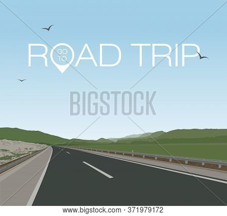 Road Through The Summer Green Mountains. Travel. Stock Vector Illustration