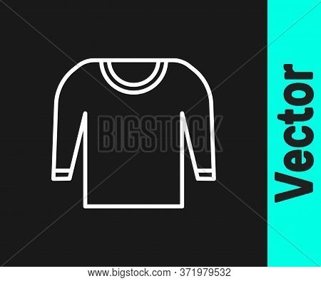 White Line Sweater Icon Isolated On Black Background. Pullover Icon. Vector Illustration.