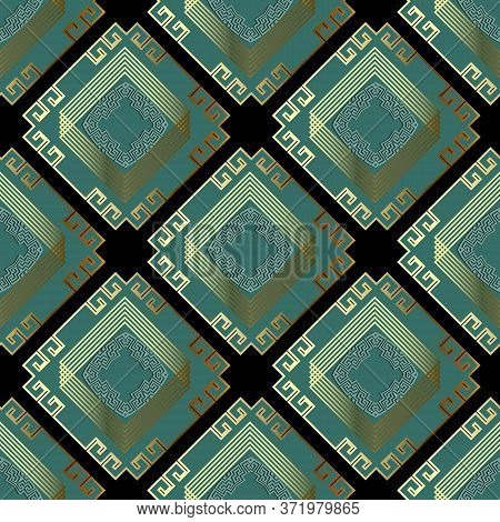 Waffle Luxury 3d Greek Vector Seamless Pattern. Ornamental Rhombus Background. Repeat Ornate Tribal