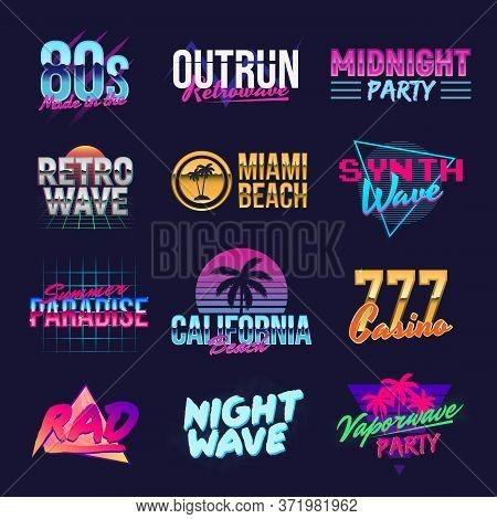Outrun Retro Logo Designs. Neon Retro Logo. Vaporwave, Retrowave, Synthwave Logo Templates. Vector R