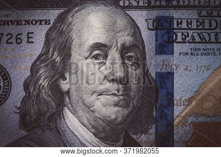 The Texture Of The Fragment Of The Dollar Bill. Fragment Of One Hundred American Dollars. Can Inform