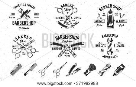 Barber Shop Vintage Hipster Logo Templates. 6 Logo And 8 Design Elements For Barber Shop, Haircut's