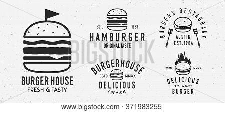 Vector Burger Logo Set. 5 Vintage Burger Restaurants Emblems. Hamburger Labels, Emblems, Logo. Burge