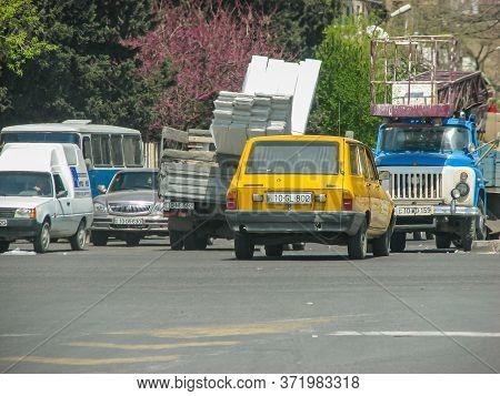Azerbaijan, Baku - May 03, 2007: Car Gazel That Is Overload By Construction Materials