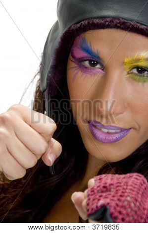 Female Model In Boxing Pose