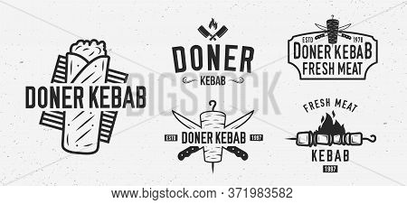 Vector Doner Kebab Logo Set. 5 Vintage Kebab Restaurants Emblems. Fast Food Labels, Emblems, Logo. K