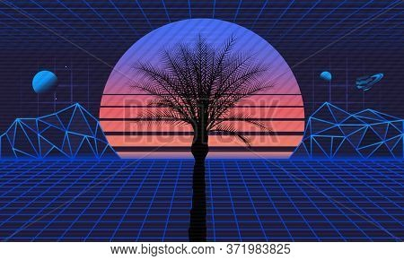 1980s Retro Futuristic Background. Retro Futuristic Sunset With Laser Grids And Palm Silhouette. Sci