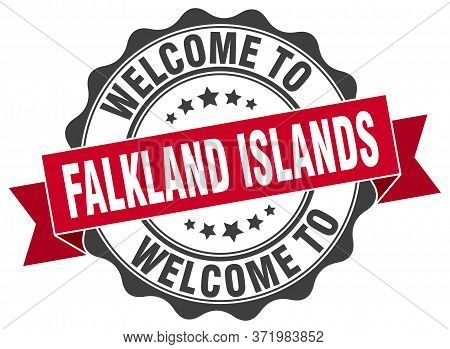 Welcome To Falkland Islands. Stamp. Round Ribbon Seal