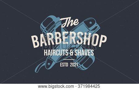 Barber Shop Vintage Hipster Logo Template. Barbershop Stamp, Print, Label With Barber Pole And Strai