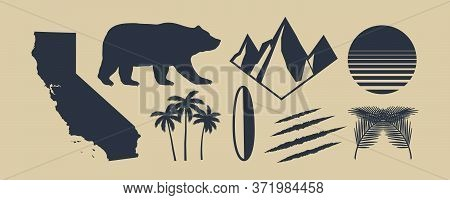 Set Of 8 Symbols Of California. California Map, Palm Trees, Mountains. Bear And Scratch Claws. Calif