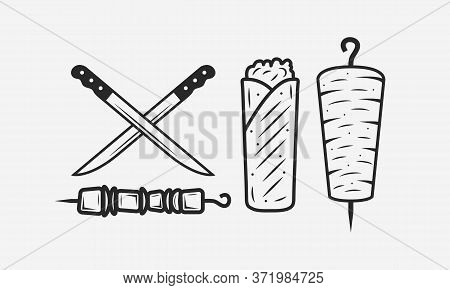 Doner Kebab Set Isolated On White Background. Meat Knives, Kebab, Shawarma, Kebab Sandwich. Shashlik