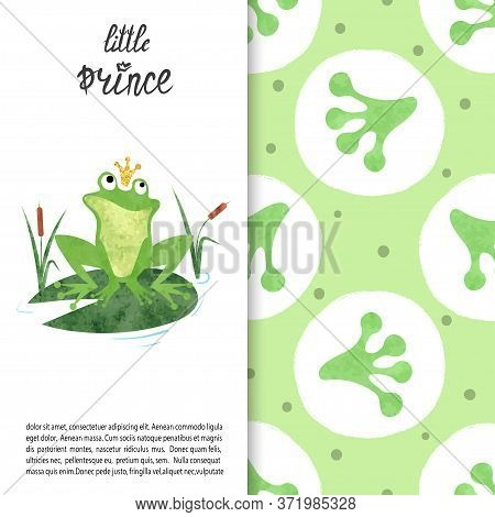 Cartoon Frog Prince On Lily Pad Vector Illustration. Frog Footprints Pattern.