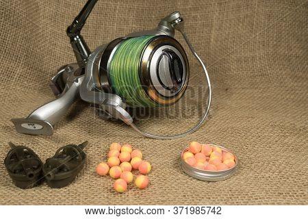 Boilies, Fishing Baits, Carp Reel With Fishing Close Up, Fishing Baits For Carp. Baits For Carp.
