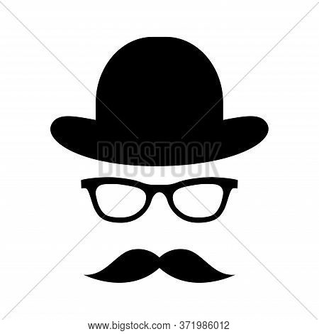 Glass, Hat, Mustache. Happy Father's Day Labels. Flat Style Vector Logo And Emblems For Barbershop,