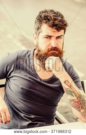 Man With Beard And Mustache Thoughtful Troubled. Making Hard Decision. Bearded Man Concentrated Face