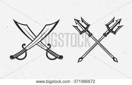 Pirate Saber Swords And Poseidon Tridents. Nautical Icons Isolated On White Background. Nautical Log