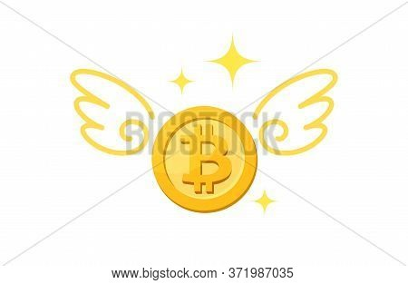 Icon Bitcion Cryptocurrency Money Gold And Wing, Currency Digital Coin For Loss Financial Concept, P