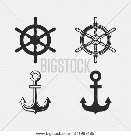 Vintage Nautical Icon Set. Anchor, Ship Wheel Icons Isolated On White Background. Anchor And Steerin
